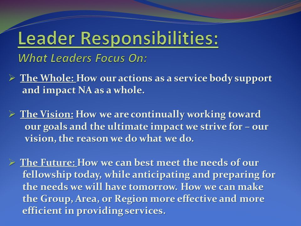 Leader Responsibilities: What Leaders Focus On: