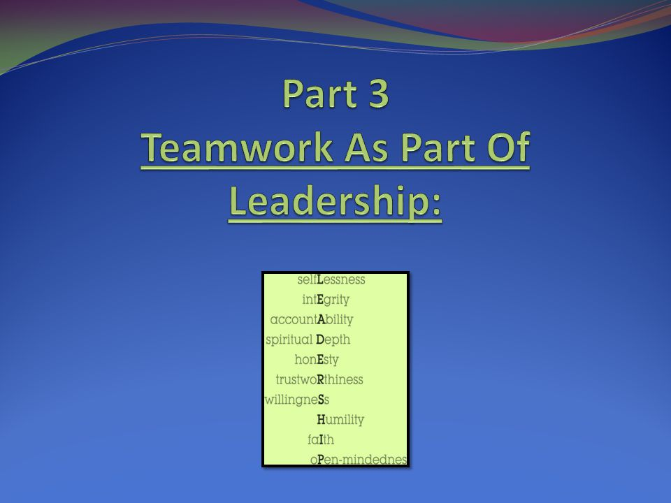 Part 3 Teamwork As Part Of Leadership: