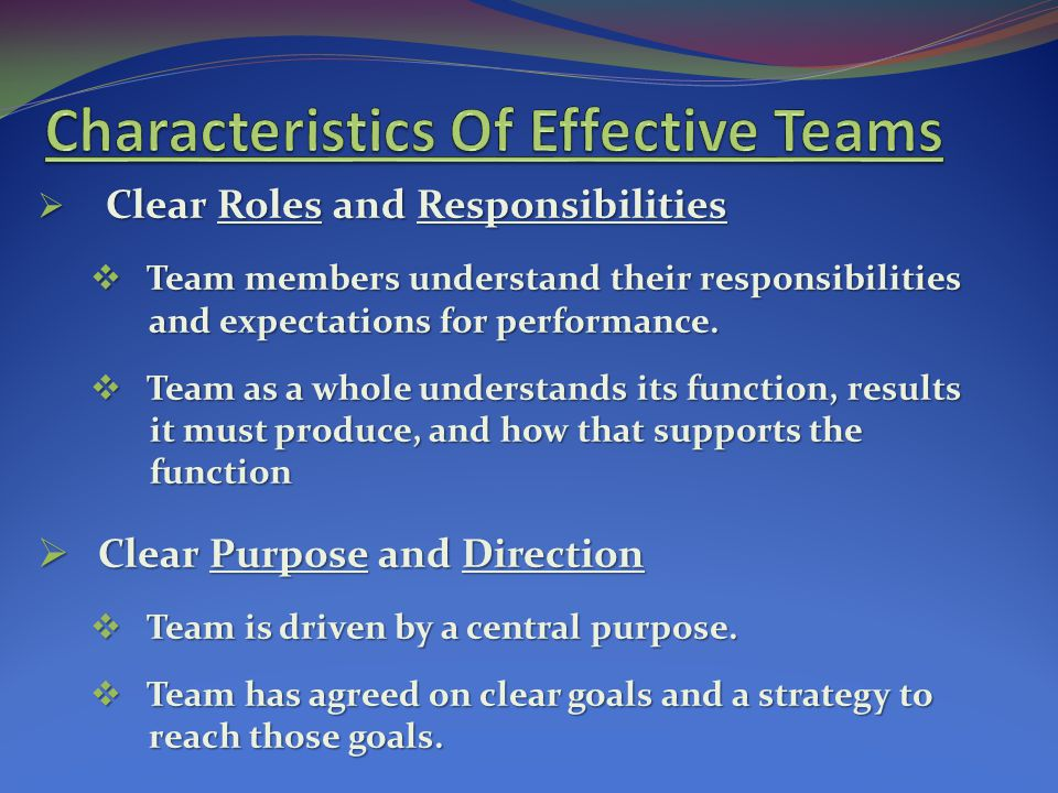 Characteristics Of Effective Teams