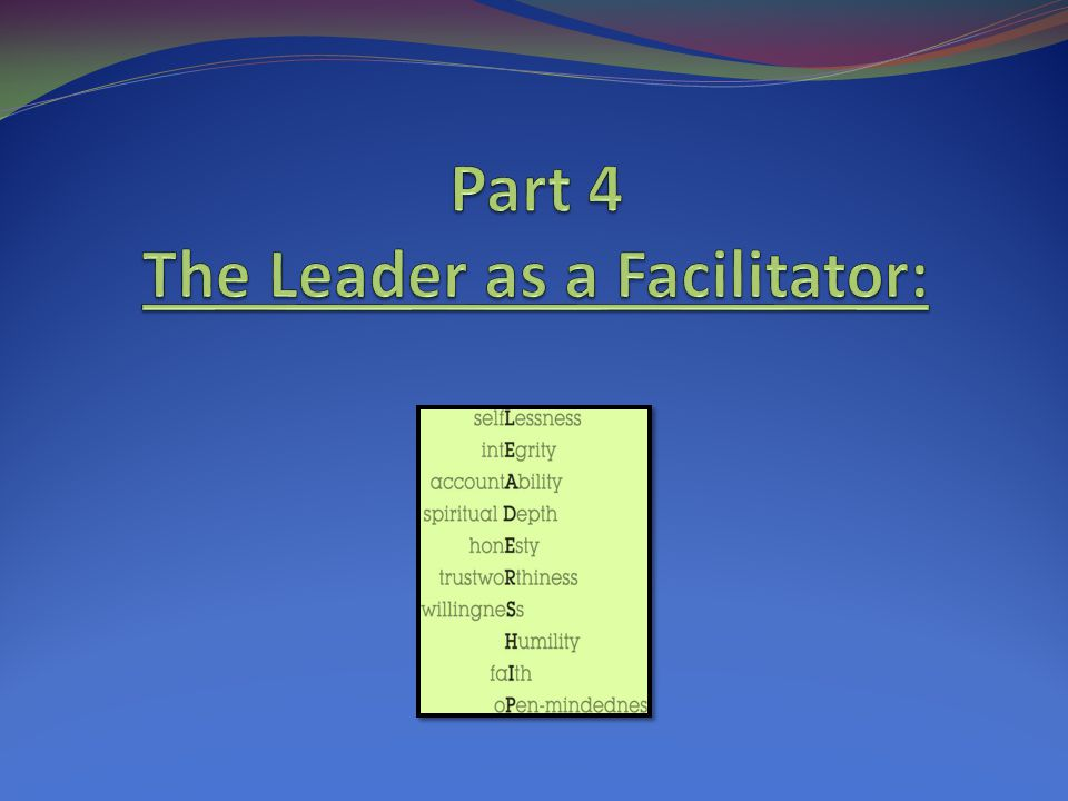 Part 4 The Leader as a Facilitator: