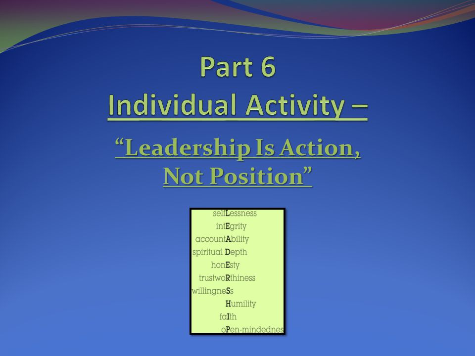 Part 6 Individual Activity –