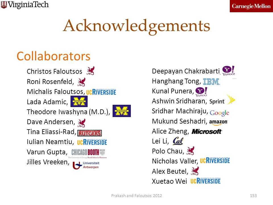 Acknowledgements Collaborators Christos Faloutsos