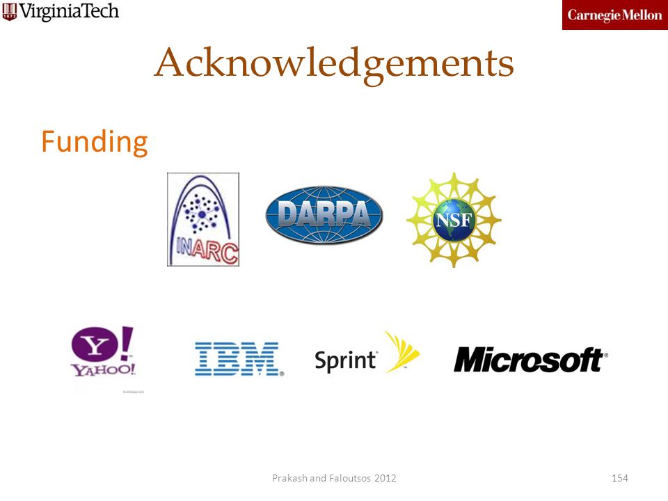 Acknowledgements Funding Prakash and Faloutsos 2012