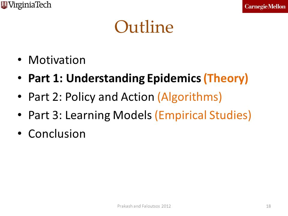 Outline Motivation Part 1: Understanding Epidemics (Theory)