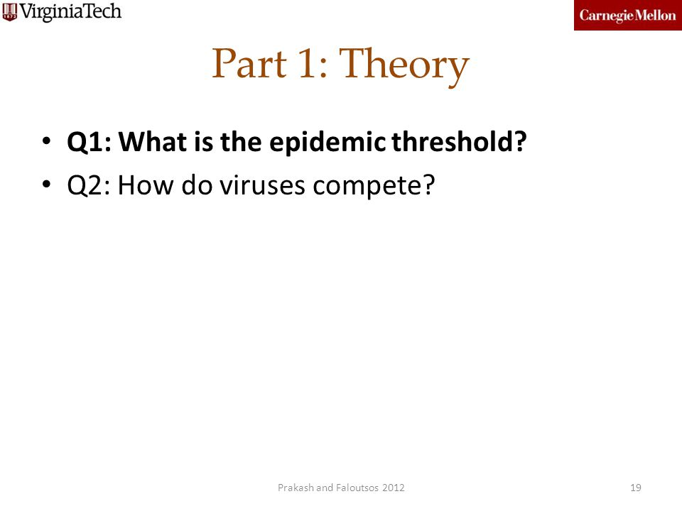 Part 1: Theory Q1: What is the epidemic threshold