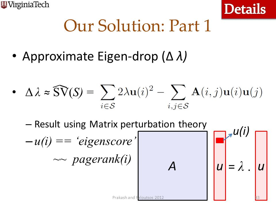 Our Solution: Part 1 Details Approximate Eigen-drop (Δ λ) A u u = λ .