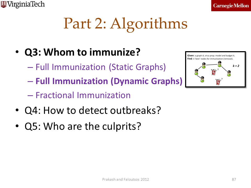 Part 2: Algorithms Q3: Whom to immunize Q4: How to detect outbreaks