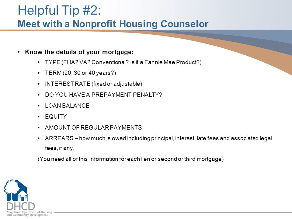 Helpful Tip #2: Meet with a Nonprofit Housing Counselor