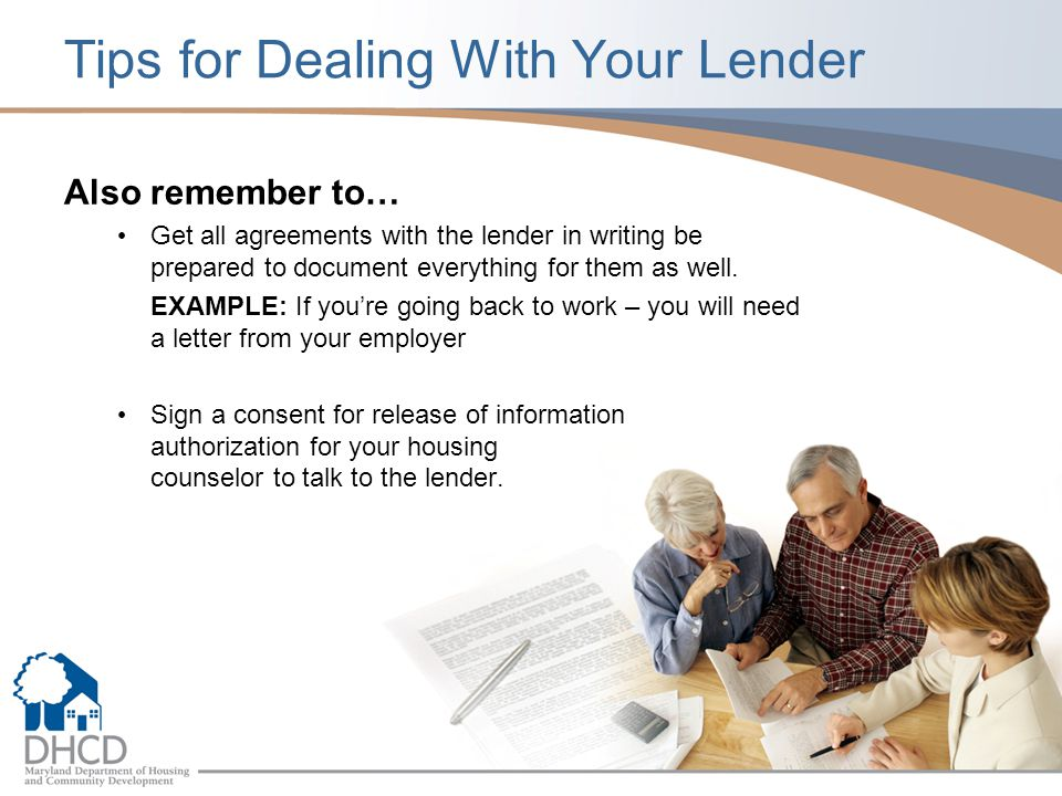 Tips for Dealing With Your Lender