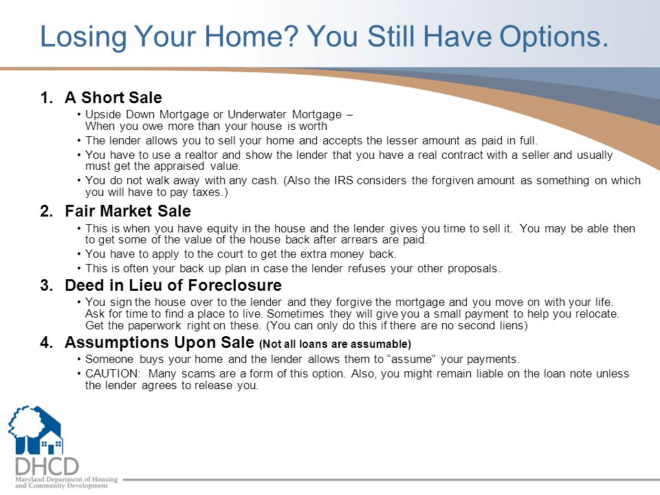 Losing Your Home You Still Have Options.
