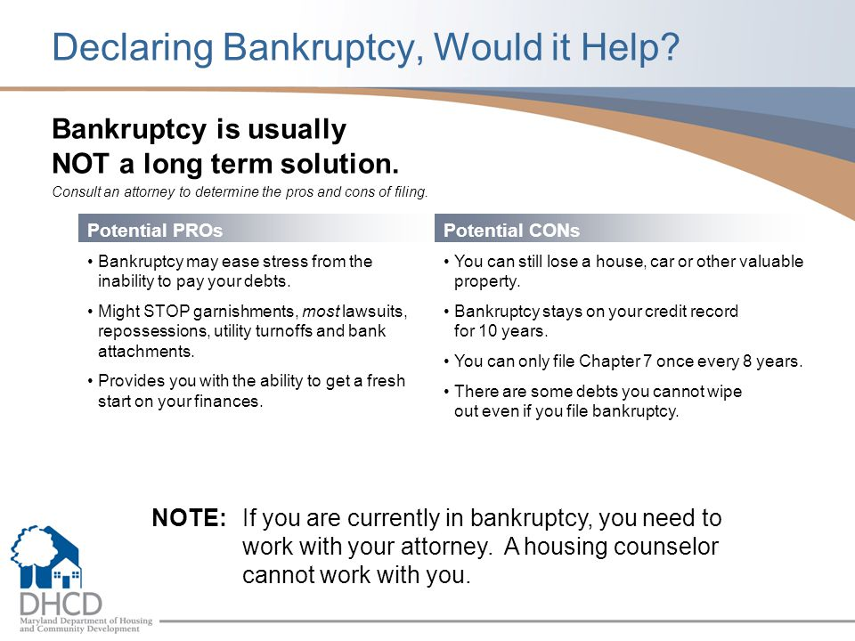 Declaring Bankruptcy, Would it Help