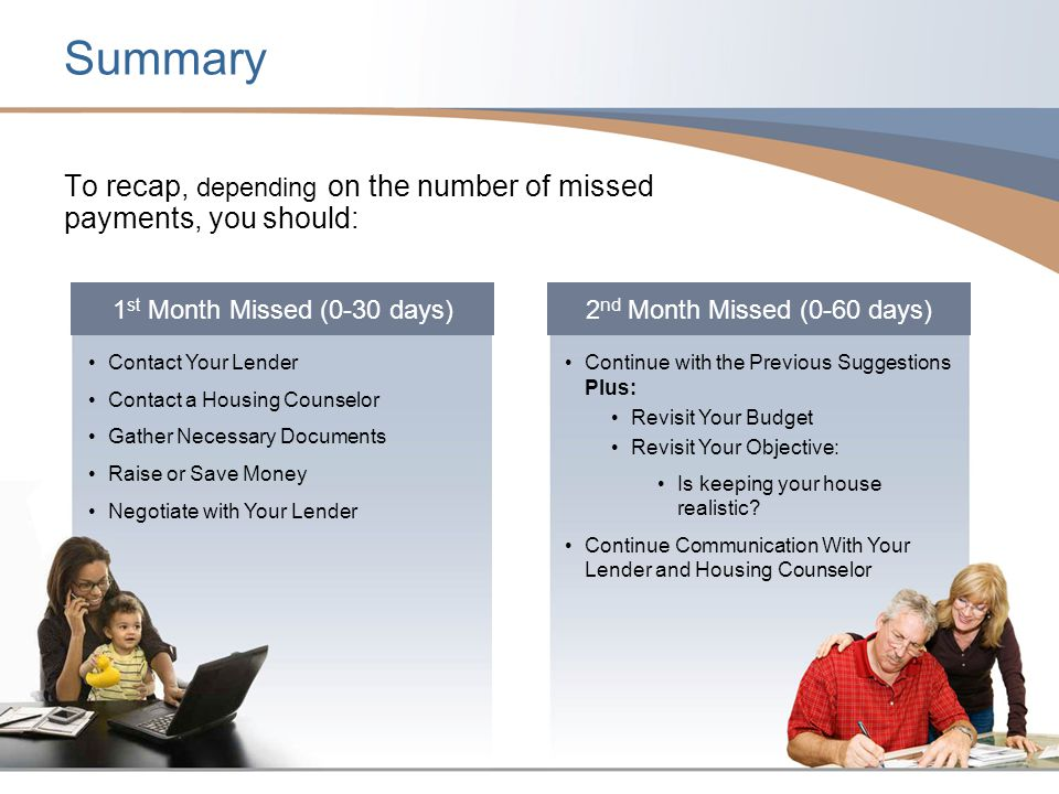 Summary To recap, depending on the number of missed payments, you should: 1st Month Missed (0-30 days)