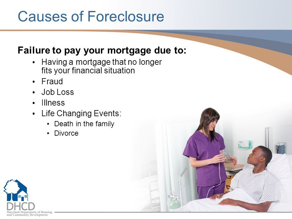 Causes of Foreclosure Failure to pay your mortgage due to: