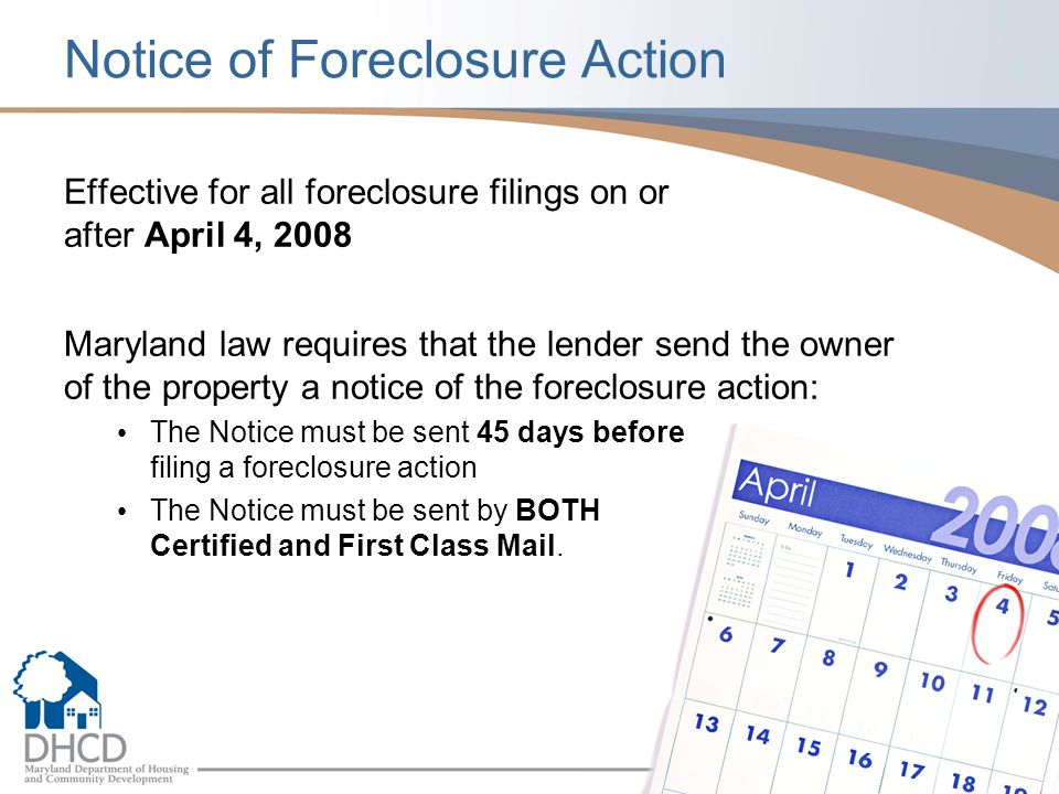 Notice of Foreclosure Action