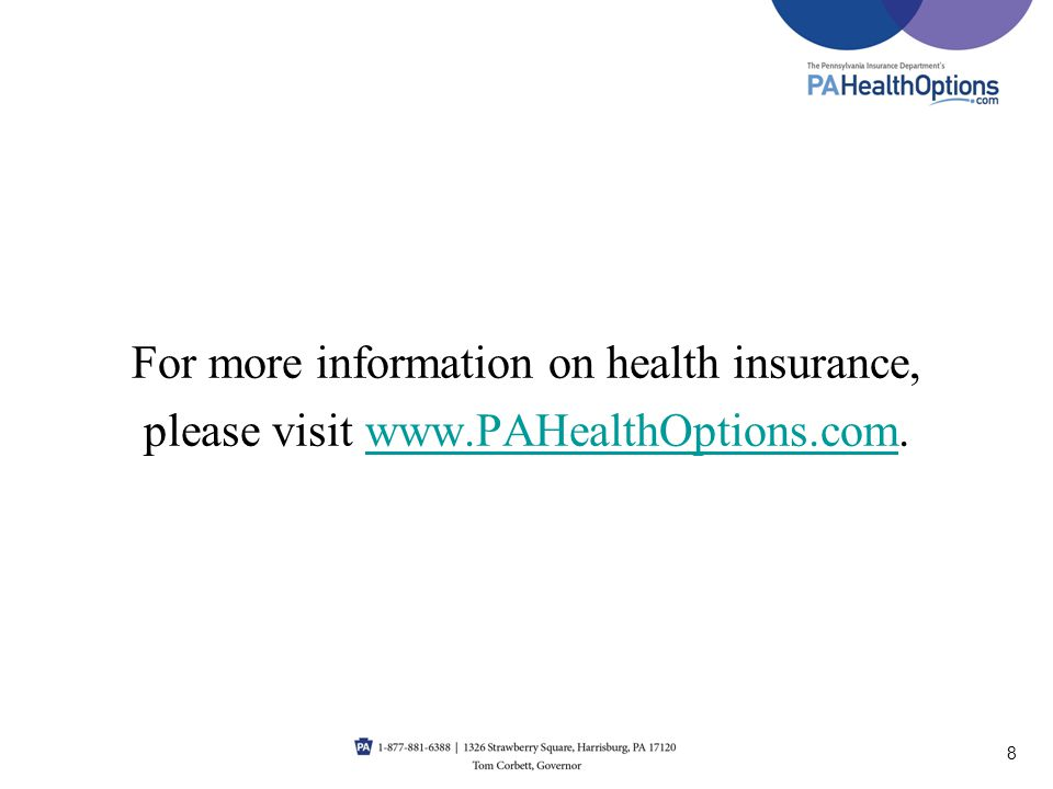 For more information on health insurance,