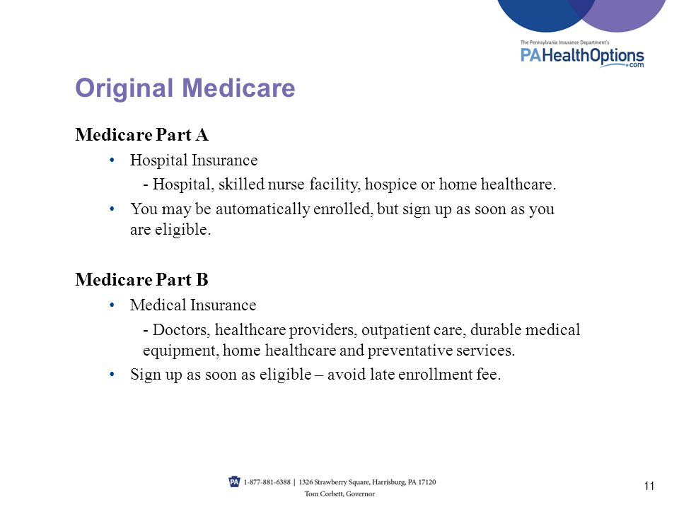 Original Medicare Medicare Part A Medicare Part B Hospital Insurance
