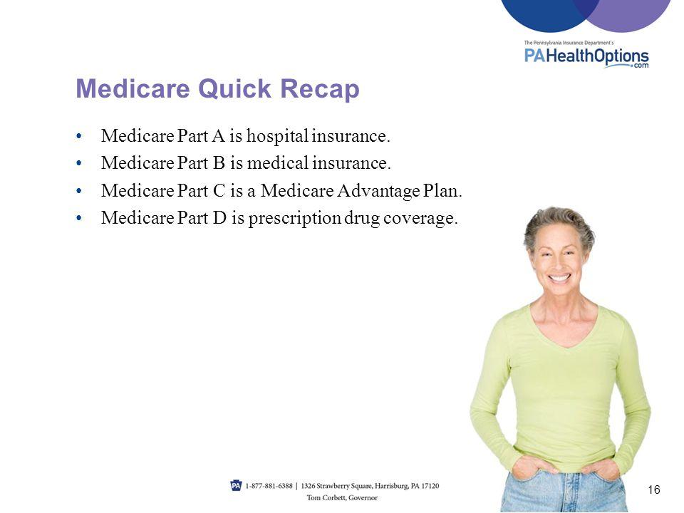 Medicare Quick Recap Medicare Part A is hospital insurance.