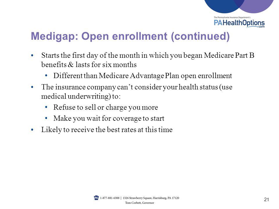Medigap: Open enrollment (continued)