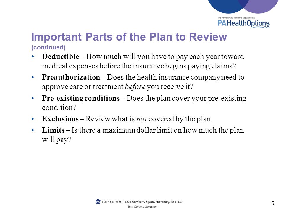 Important Parts of the Plan to Review (continued)