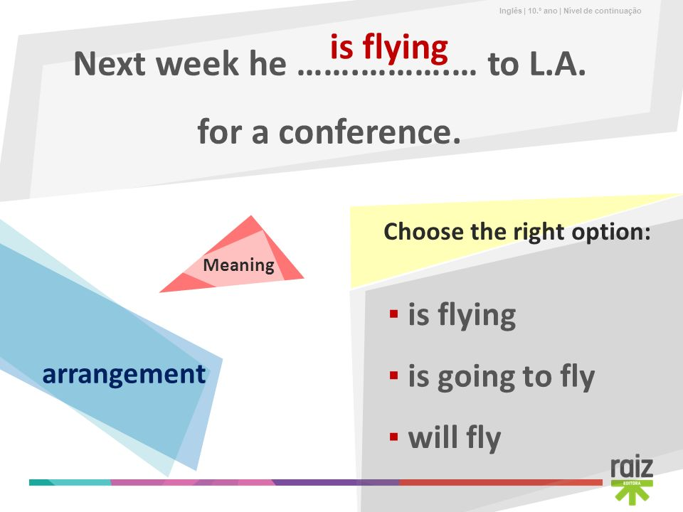 Next week he …….……….… to L.A. for a conference.