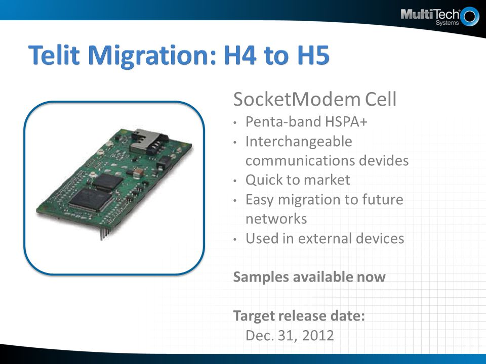 Telit Migration: H4 to H5 SocketModem Cell Penta-band HSPA+