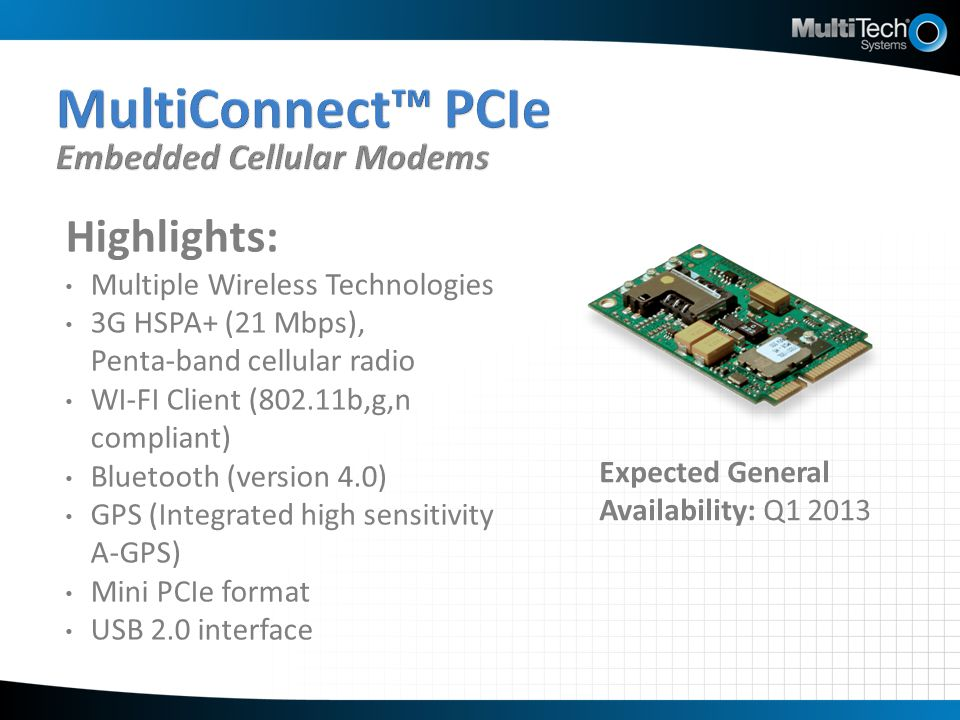MultiConnect™ PCIe Embedded Cellular Modems