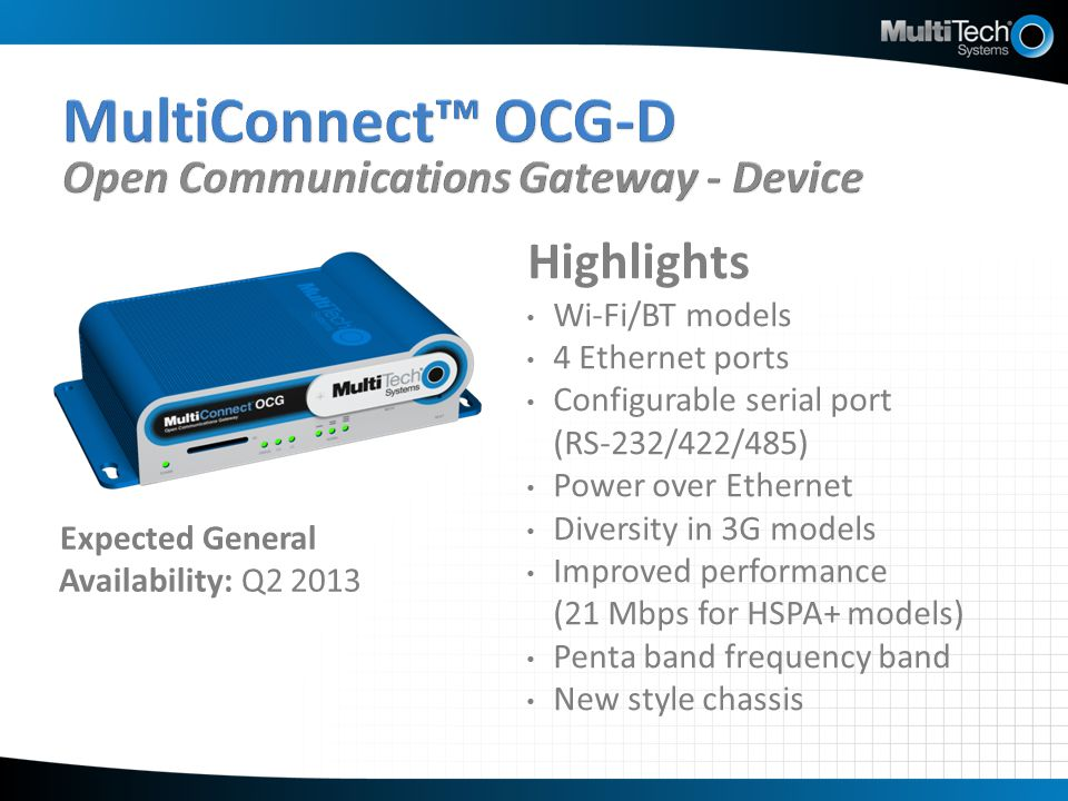 MultiConnect™ OCG-D Open Communications Gateway - Device