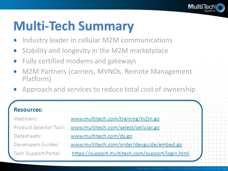 Multi-Tech Summary Industry leader in cellular M2M communications