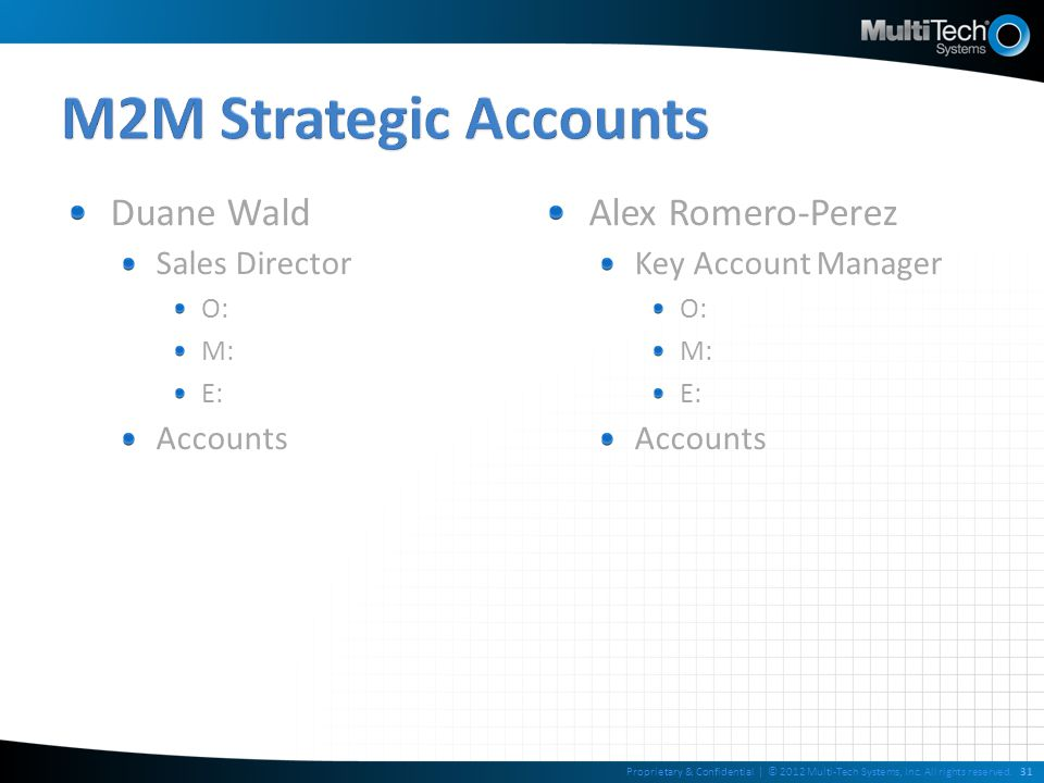 M2M Strategic Accounts Duane Wald Alex Romero-Perez Sales Director
