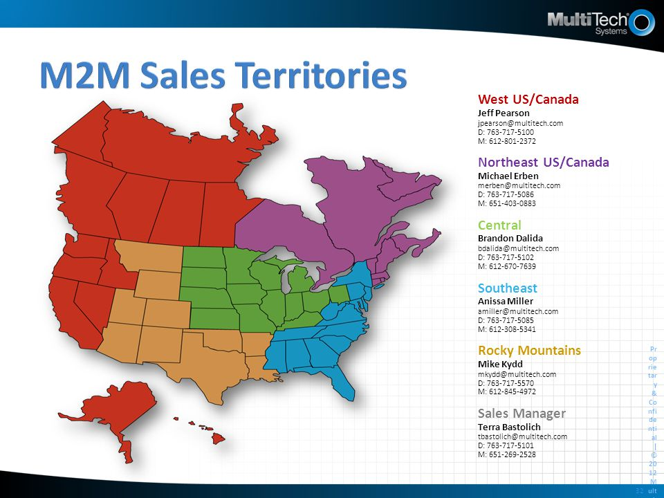 M2M Sales Territories West US/Canada Northeast US/Canada Central