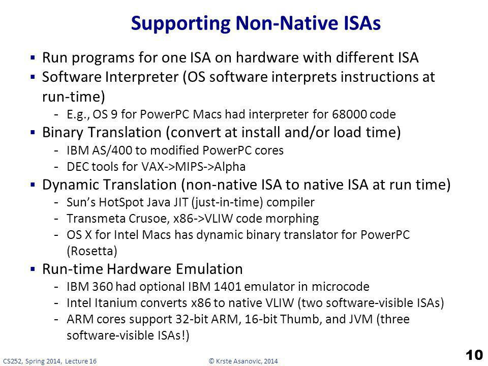 Supporting Non-Native ISAs