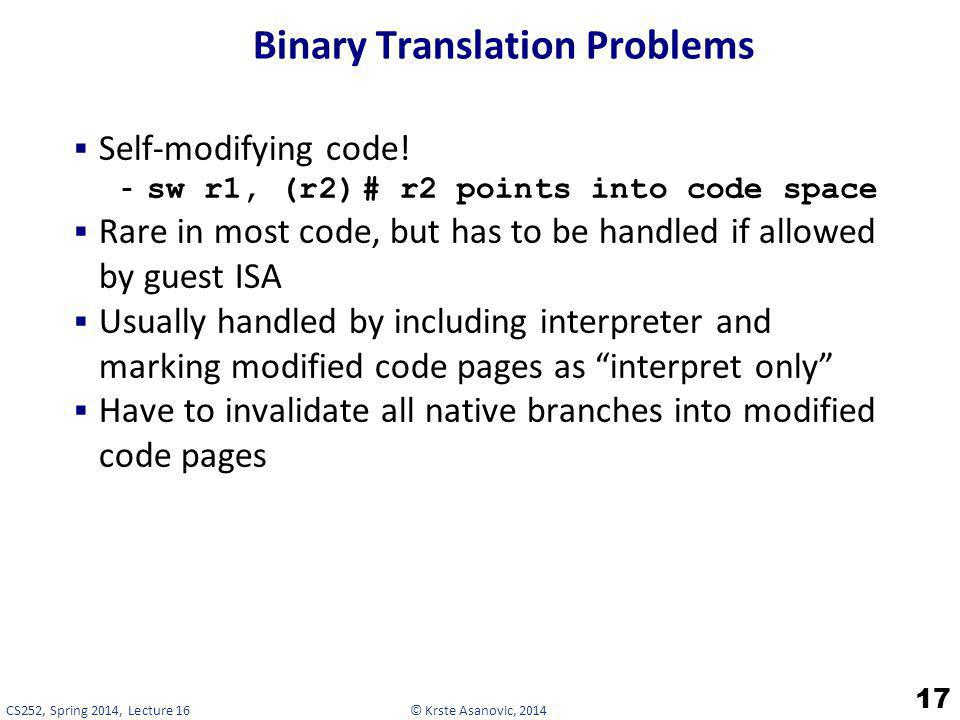 Binary Translation Problems