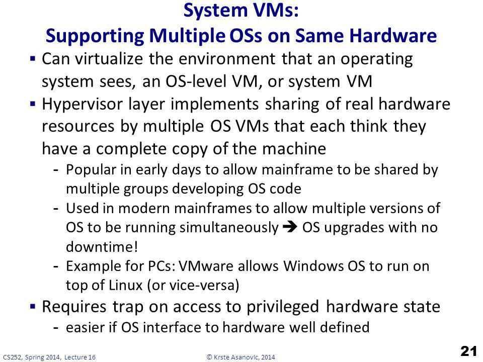 System VMs: Supporting Multiple OSs on Same Hardware