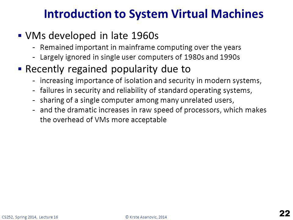 Introduction to System Virtual Machines