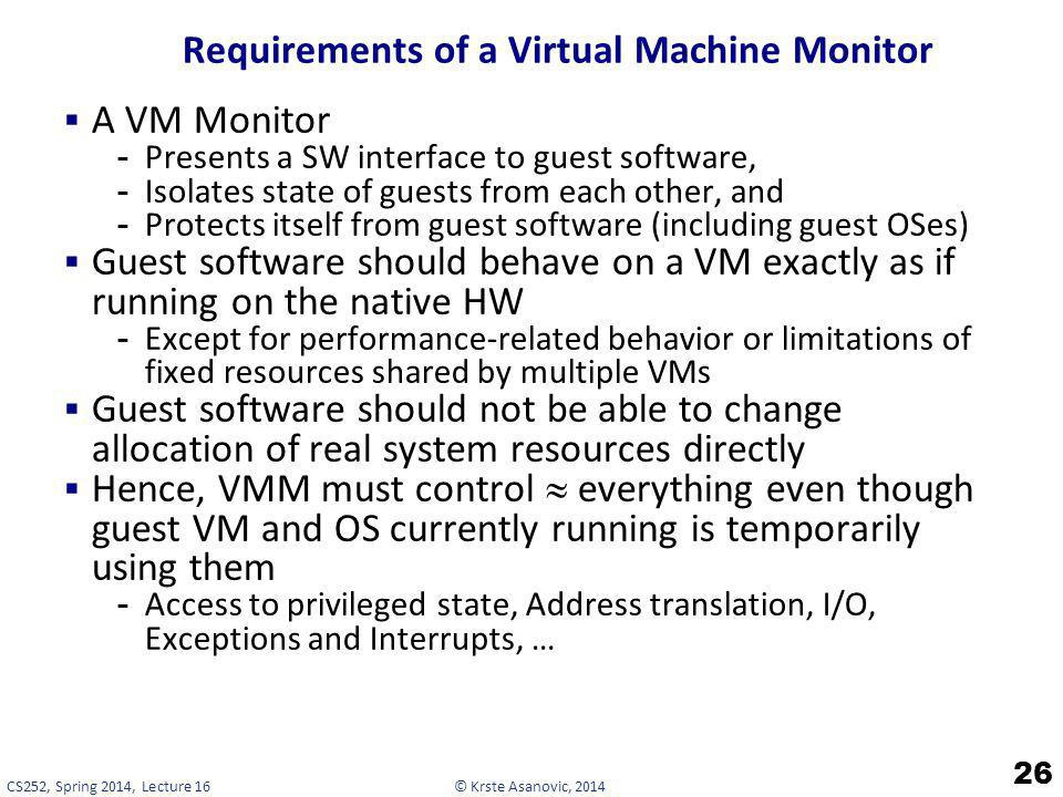 Requirements of a Virtual Machine Monitor
