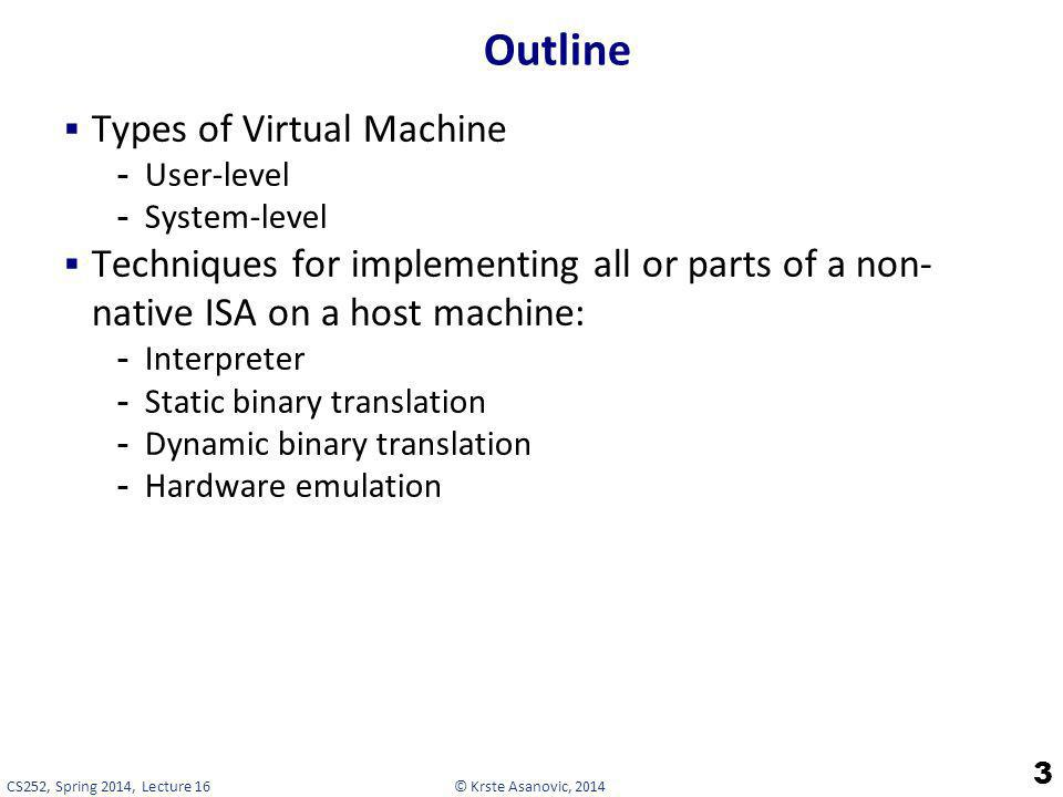 Outline Types of Virtual Machine