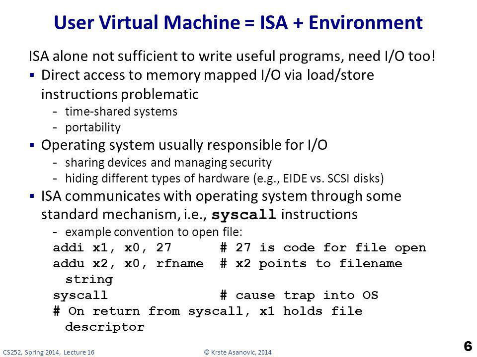 User Virtual Machine = ISA + Environment