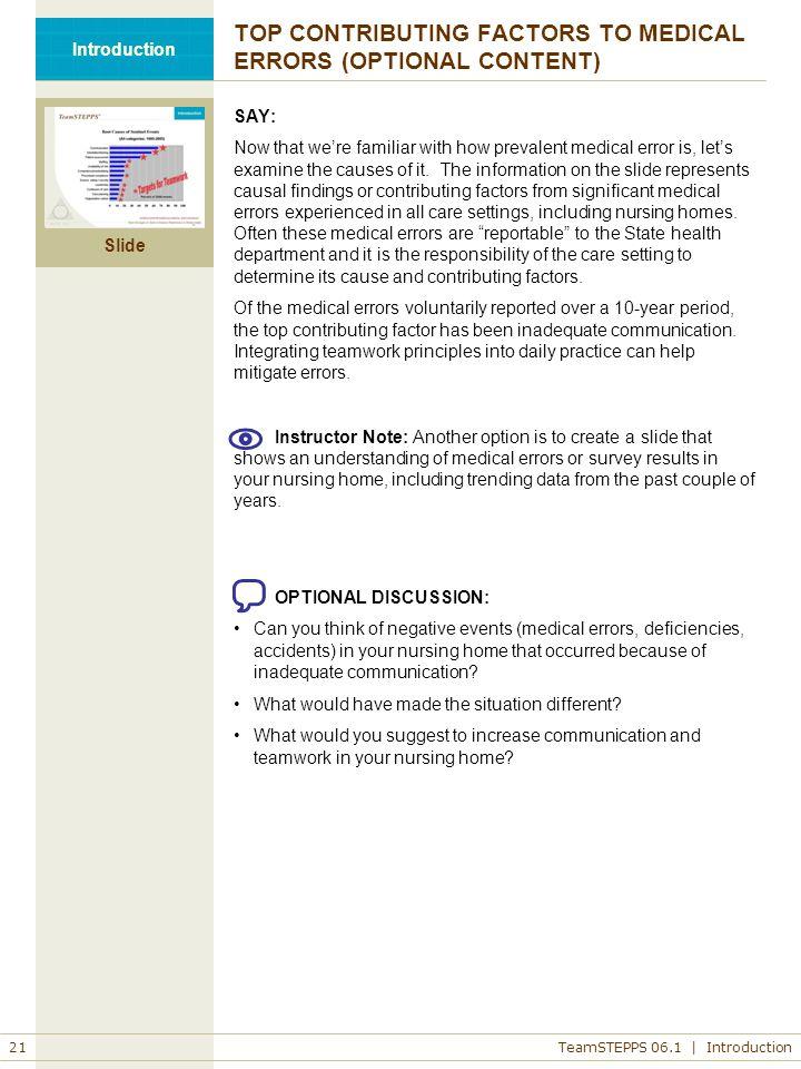 TOP CONTRIBUTING FACTORS TO MEDICAL ERRORS (OPTIONAL CONTENT)