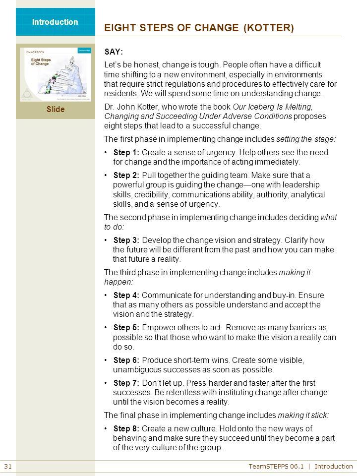 EIGHT STEPS OF CHANGE (KOTTER)