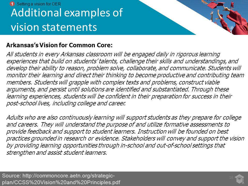 Additional examples of vision statements