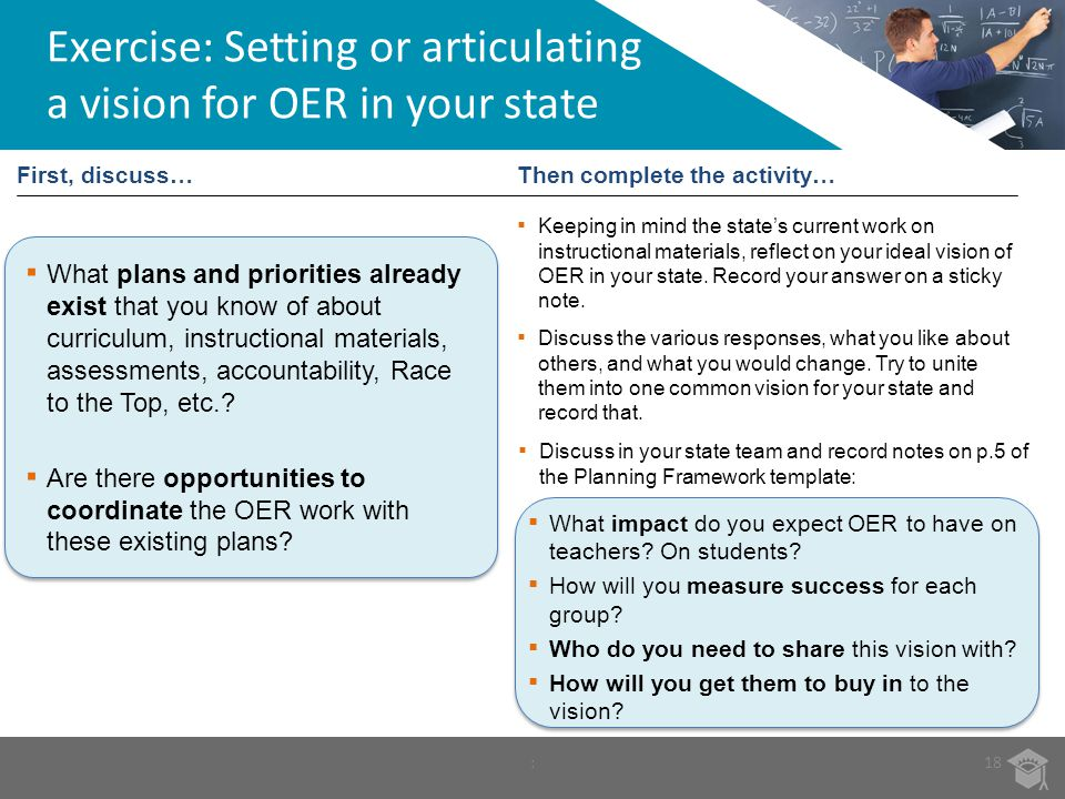 Exercise: Setting or articulating a vision for OER in your state
