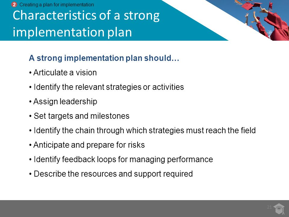 Characteristics of a strong implementation plan