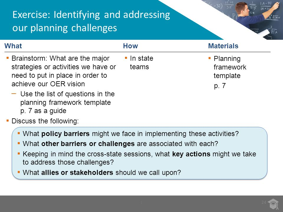 Exercise: Identifying and addressing our planning challenges