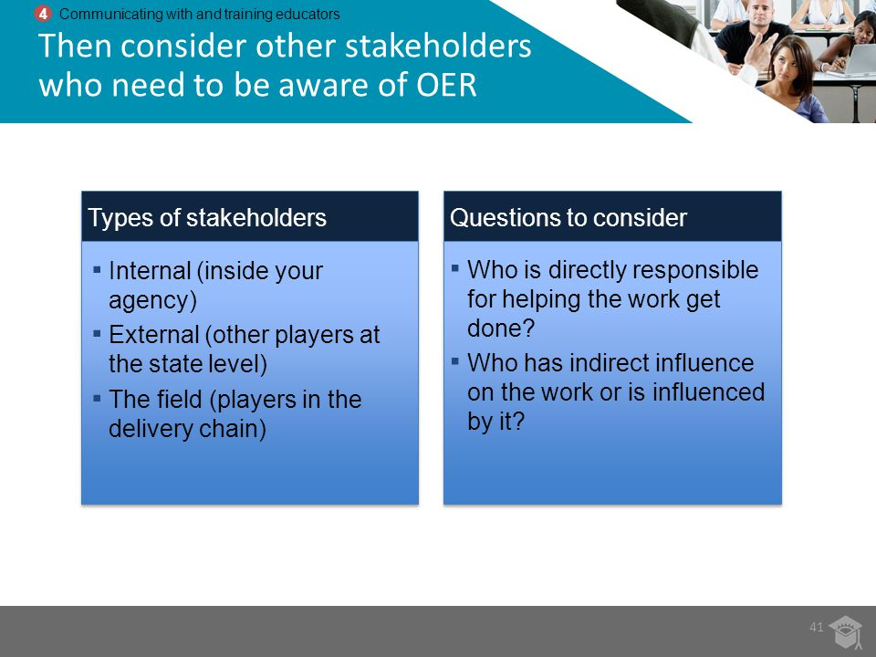 Then consider other stakeholders who need to be aware of OER