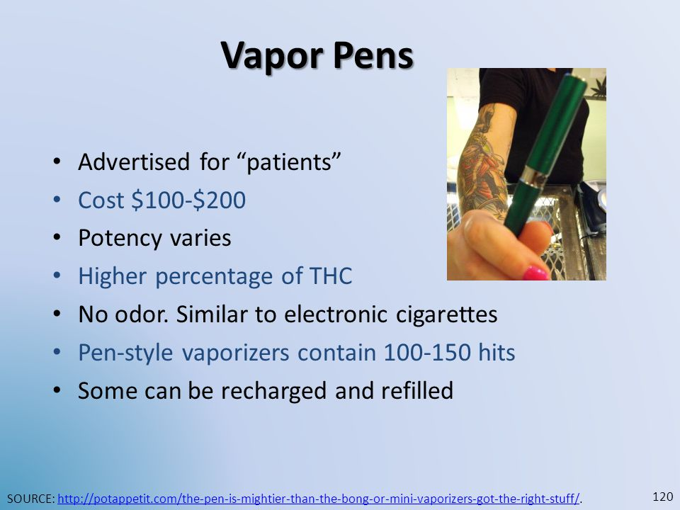 Vapor Pens Advertised for patients Cost $100-$200 Potency varies
