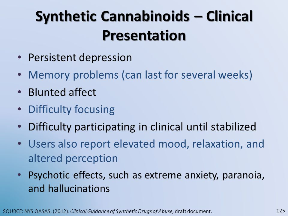 Synthetic Cannabinoids – Clinical Presentation