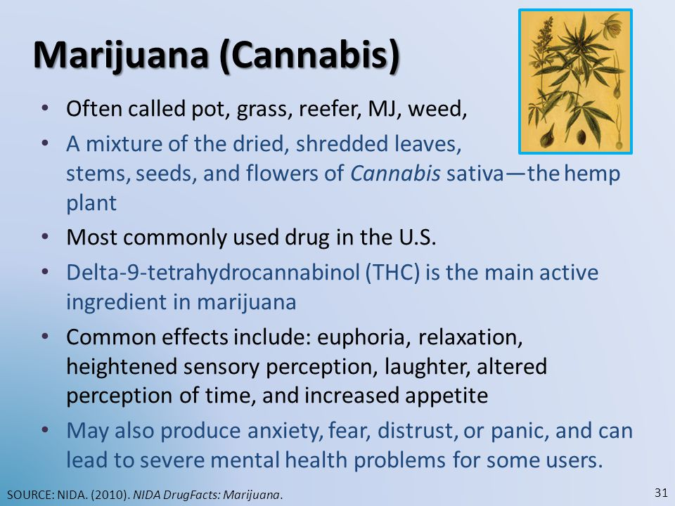 Marijuana (Cannabis) Often called pot, grass, reefer, MJ, weed, herb