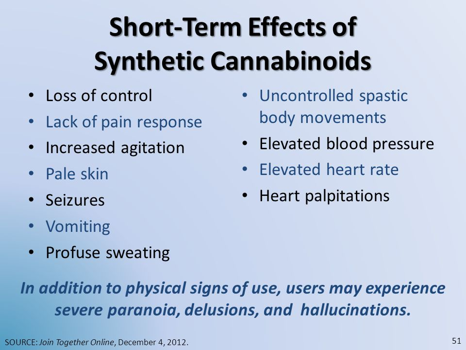 Short-Term Effects of Synthetic Cannabinoids
