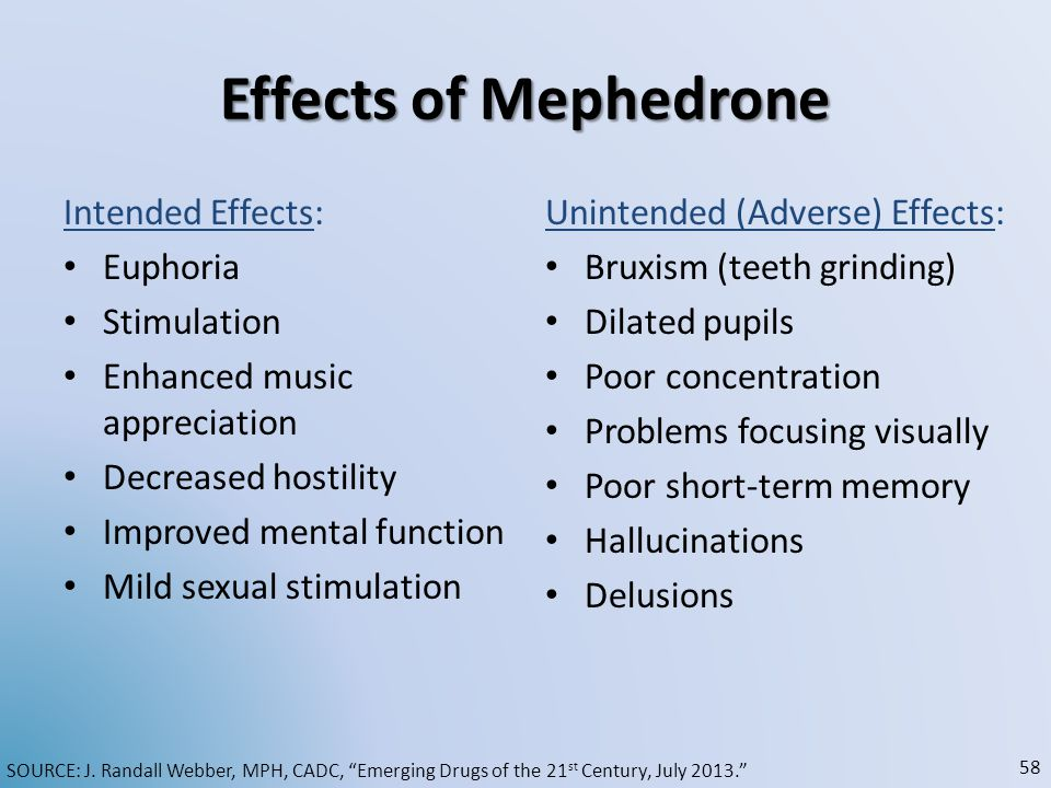 Effects of Mephedrone Intended Effects: Euphoria Stimulation