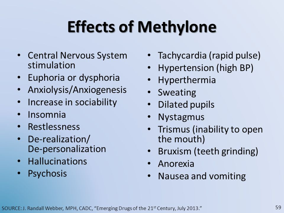 Effects of Methylone Central Nervous System stimulation